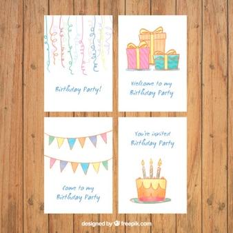 Collection of hand drawn birthday invitation