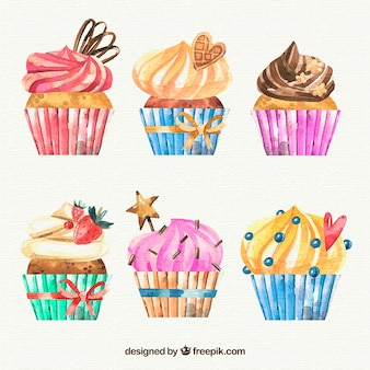 Collection of hand drawn birthday muffins