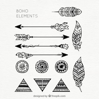 Collection of hand drawn boho elements