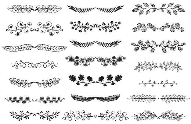 Collection of hand drawn borders in sketch style. floral and abstract dividers for your design.