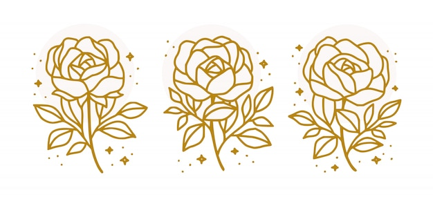 Collection of hand drawn botanical gold rose flower for beauty feminine logo element
