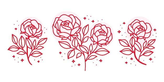 Collection of hand drawn botanical pink rose floral elements for feminine beauty logo
