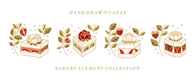 Collection of hand drawn cake, pastry, bakery logo elements with strawberries