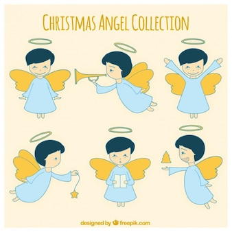 Collection of hand-drawn christmas angels