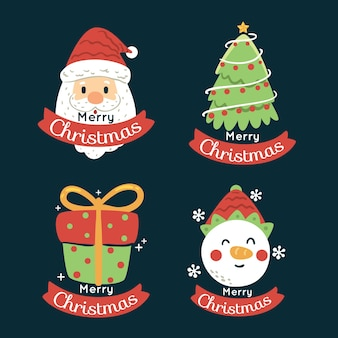 Collection of hand drawn christmas badge