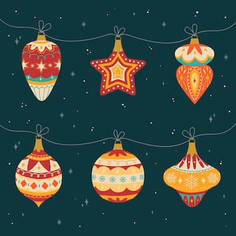 Collection of hand drawn christmas ball ornaments