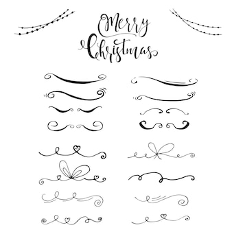 Collection of hand drawn christmas borders with lettering. cute and unique ink swirls and dividers for your design. vector.