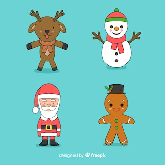 Collection of hand drawn christmas characters