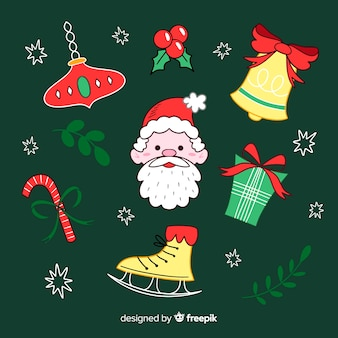 Collection of hand drawn christmas element