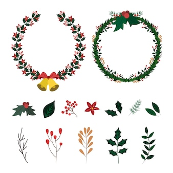 Collection of hand drawn christmas flower & wreath
