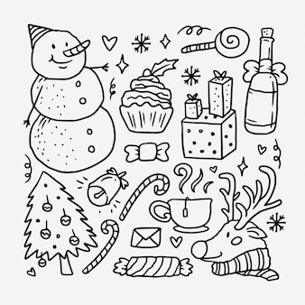 Collection of hand drawn christmas holiday doodle