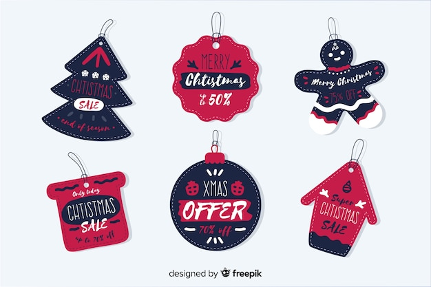 Collection of hand drawn christmas sale tag