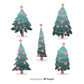 Collection of hand drawn christmas tree