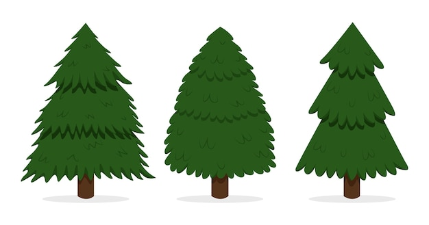 Collection of hand drawn christmas trees