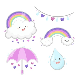 Collection of hand drawn chuva de amor decoration elements