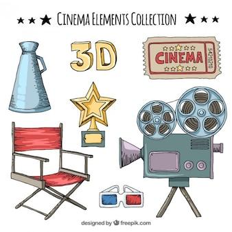Raccolta di disegnati a mano elemento cinema