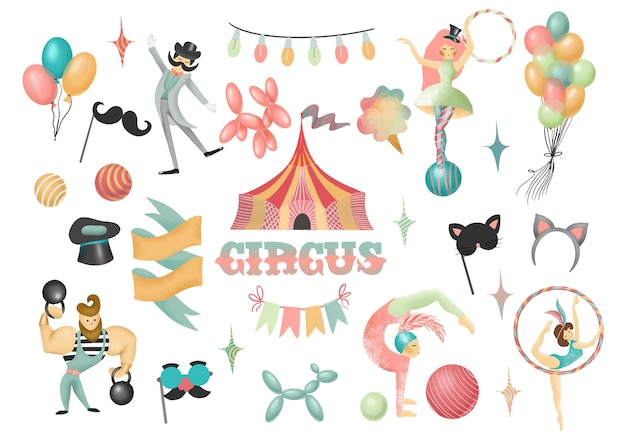 Collection of hand drawn circus actors and elements of circus or amusement park