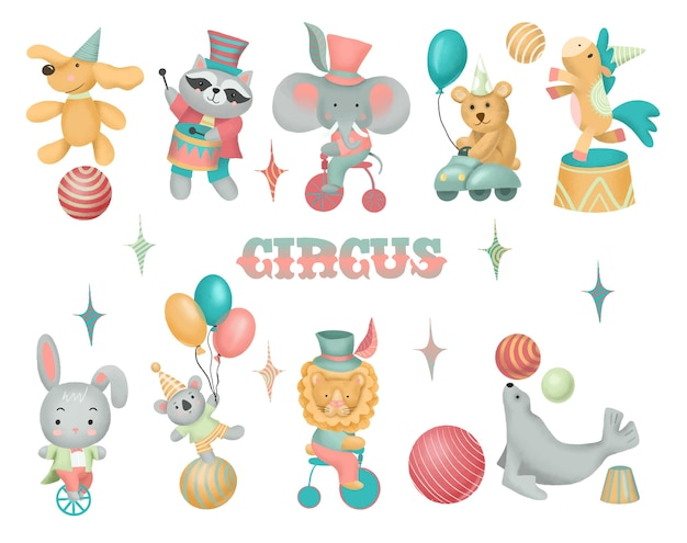 Collection of hand drawn circus animals, isolated illustration