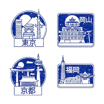 Collection of hand drawn city stamps