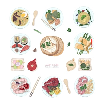Collection of hand drawn colorful dishes of asian cuisine isolated on white background. delicious meals and snacks, traditional food of asia - ramen noodles, dumplings, sushi. vector illustration.