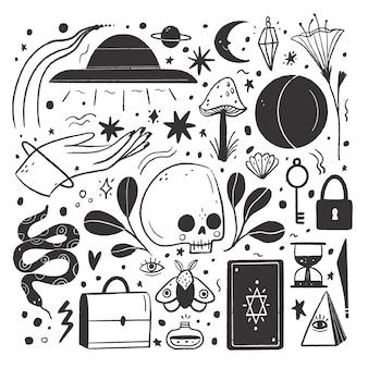 Raccolta di illustrazioni incolori disegnate a mano