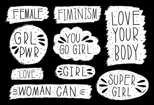 手描きのコレクションは、フェミニズムのスピーチを伝えます。デザイン要素のスローガン