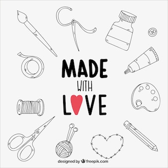 Collection of hand-drawn craft elements