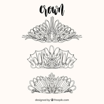 Collection of hand-drawn crowns
