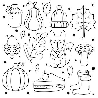 Collezione di simpatici adesivi autunnali disegnati a mano