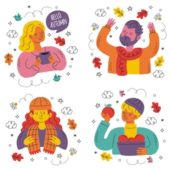Collection of hand drawn cute autumn stickers