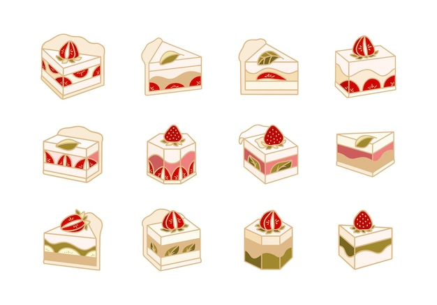 Collection of hand drawn cute cake pastry bakery elements isolated
