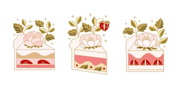 Collection of hand drawn cute cakes with peony flowers