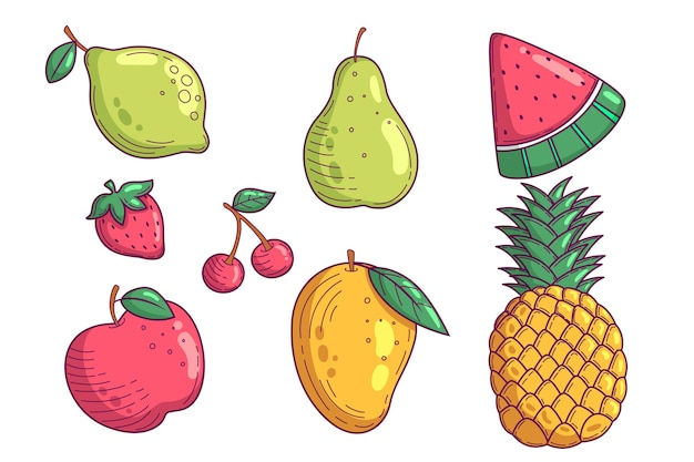Collection of hand drawn delicious fruits