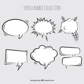 Raccolta di palloncini di dialogo disegnati a mano