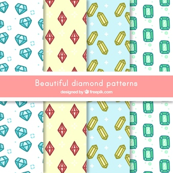 Collection of hand-drawn diamond patterns