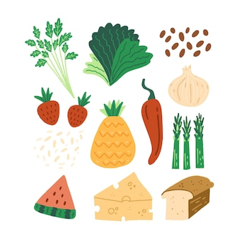 Collection of hand drawn different vegetarian foods