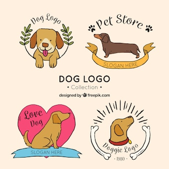 Collection of hand-drawn dog logos