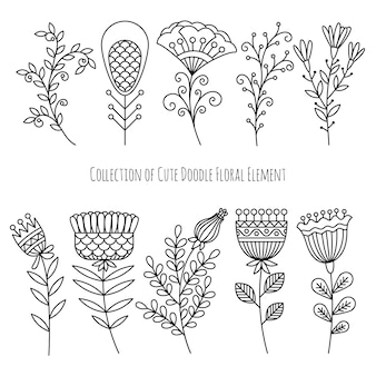 Collection of hand drawn doodle flowers