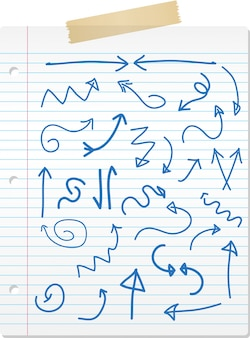 Collection of hand drawn doodled arrows on lined paper