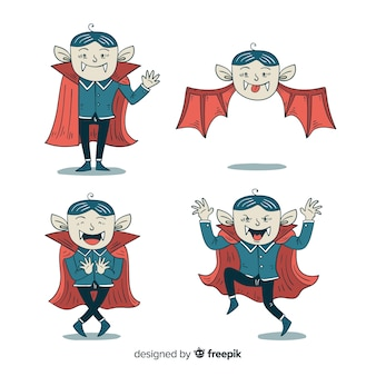 Collection of hand drawn dracula vampire character