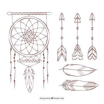 Collection of hand-drawn dreamcatcher and arrows
