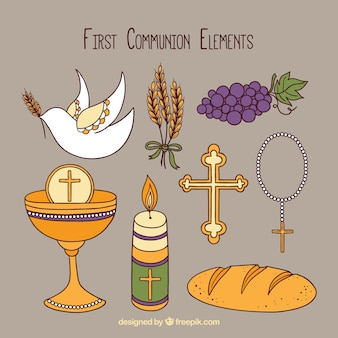 Collection of hand drawn elements of communion