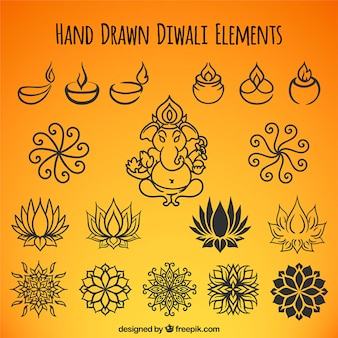 Collection of  hand drawn ethnic diwali elements