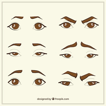 Collection of hand-drawn eyes and eyebrow sketches