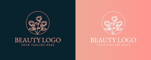 Collection of hand drawn feminine beauty and floral botanical minimal logo