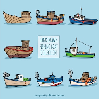 Collection of hand-drawn fishing boats