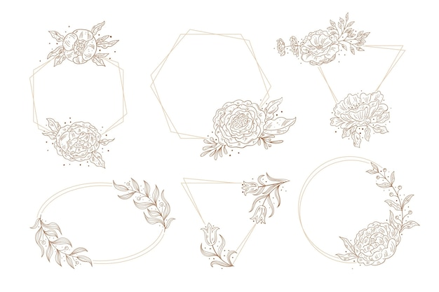 Collection of hand drawn floral frames