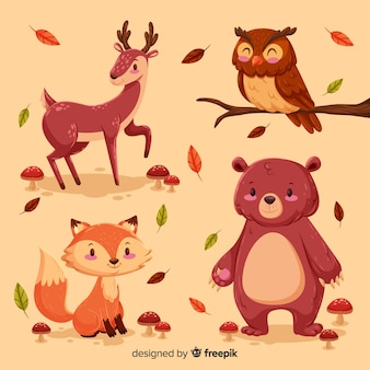 Collection of hand drawn forest animals