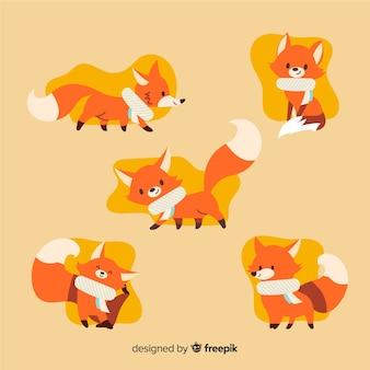 Collezione di volpi disegnate a mano
