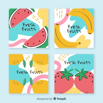 Collection of hand drawn fruit cards
